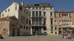 Stock Video Footage of Old buildings and souvenirs stalls in Campo Sant'Angelo, Venice