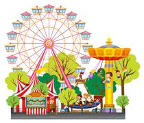 Children having fun at the circus - stock illustration