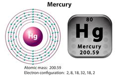 Symbol and electron diagram for Mercury - stock illustration