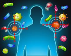Human body and bacteria - stock illustration