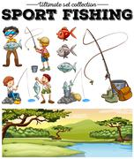 People fishing and river scene - stock illustration