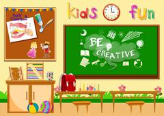 Kindergarten classroom without children Stock Illustration