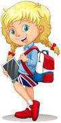 Little girl with schoolbag and tablet Stock Illustration