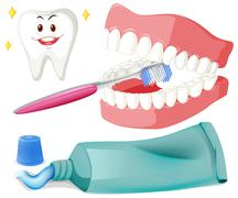 Brushing teeth with brush and paste - stock illustration