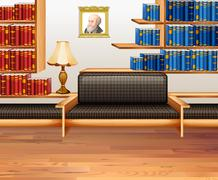 Room with lots of bookshelves - stock illustration