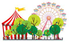 Circus scene with tent and ferris wheel - stock illustration