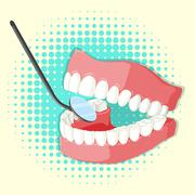 Teeth model and mirror Stock Illustration