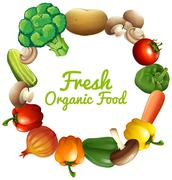 Border design with fresh vegetables - stock illustration