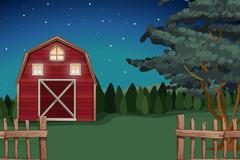 Farmhouse on the farm at nighttime - stock illustration