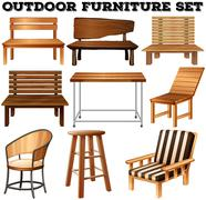 Outdoor wooden furniture set - stock illustration