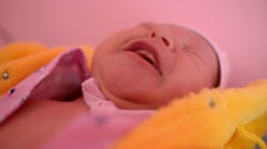 Newborn baby girl wake up hungry - cry and scream - stock footage