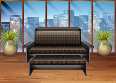 Living room with view from window - stock illustration