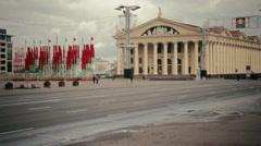 Belarusian flags in Kastryčnickaja Square in Minsk Stock Footage