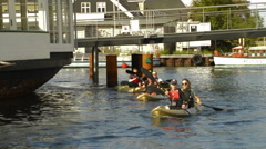 Women in kayak in Copenhagen Stock Footage