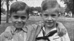 Best Friends Little Boys Childhood Friendship 1930s Vintage Film Home Movie 8593 Stock Footage