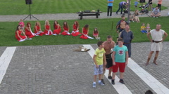 Children involved in a medieval sketch in Alba Iulia fortress Stock Footage