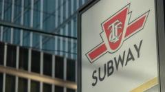 TTC Toronto Subway Sign Downtown. Static Shot. - stock footage