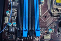 Slots on a computer motherboard - stock photo