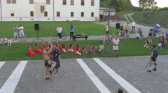 A medieval sketch scene performed in Alba Iulia Stock Footage