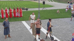Stock Video Footage of Medieval representation in the Alba Iulia fortress