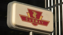 TTC Toronto Subway Sign Downtown. Static Shot. Stock Footage