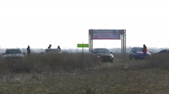 Dnipropetrovsk, February 22, rally, sports cars involved in high-speed trains Stock Footage