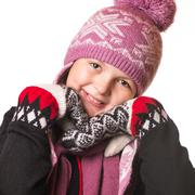 portrait of the girl in winter clothing of emotion. - stock photo