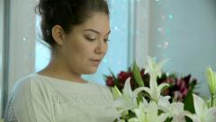 Arranging Lily Bouquet - stock footage
