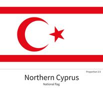 National flag of Northern Cyprus with correct proportions, element, colors Stock Illustration