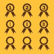 Set of 9 black award icons Stock Illustration