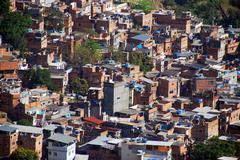 Brazil, Rio de Janeiro, Rocinha Favela, Elevated view of townscape - stock photo