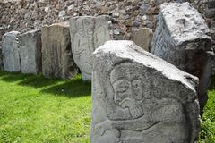 Mexico, Oaxaca, Santa Cruz Xoxocotlan, Monte Alban, Stone slabs with carvings Stock Photos
