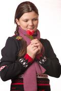 Portrait of the girl in winter clothing of emotion. Stock Photos
