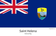 National flag of Saint Helena with correct proportions, element, colors - stock illustration