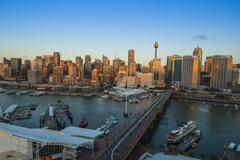 Australia, Sydney, Darling Harbor at sunset - stock photo
