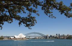 Australia, Sydney, View of Sydney's Opera House and Harbor Bridge - stock photo