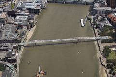 United Kingdom, London, Aerial view of Millennium Bridge Stock Photos