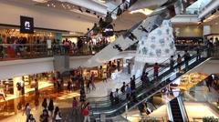 Hong Kong shopping mall escalator. - stock footage