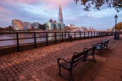 United Kingdom, London, View from North Bank of River Thames looking south, - stock photo
