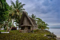 Micronesia, Yap, View of traditional house - stock photo