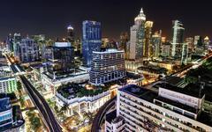 Thailand, Bangkok, Phra Nakhon District, Elevated view of illuminated cityscape Stock Photos