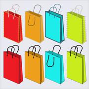 set of multi-colored bags - stock illustration
