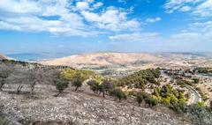 Jordan, View of towards Golan Heights at day - stock photo
