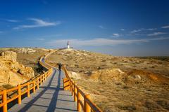 China, Xinjiang, Altay, Burqin, View along curving walkway leading to Rainbow - stock photo