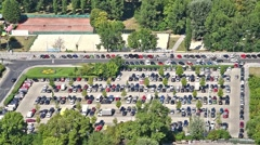 Cars Parking In Full Car Parking Lot Of Vienna City Stock Footage