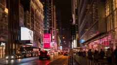Stock Video Footage of time lapse of traffic on W 42nd street in manhatten,  ny
