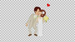 Kissing Wedding couple (Brunette) -Heart and alpha channel added Stock Footage