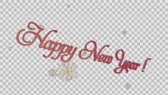 Happy Holidays headlines with paper snowflakes, Alpha PNG Stock Footage