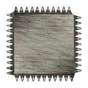 Toothed scratched metal plaque - stock photo