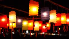 Thai style Paper lanterns decorated in Yee-peng festival ,ChiangMai Thailand Stock Footage